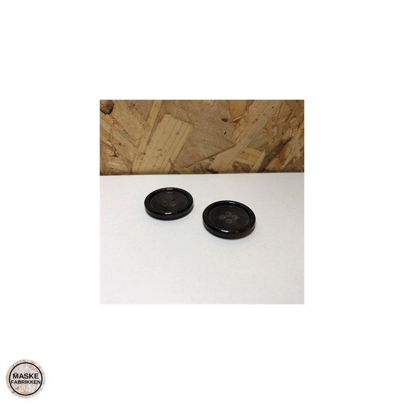 Brun knap i hornlook 4-huls, 20 mm