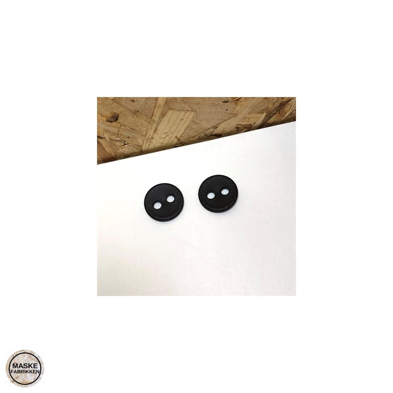 Mørk knap med læderlook 2-huls, 20 mm