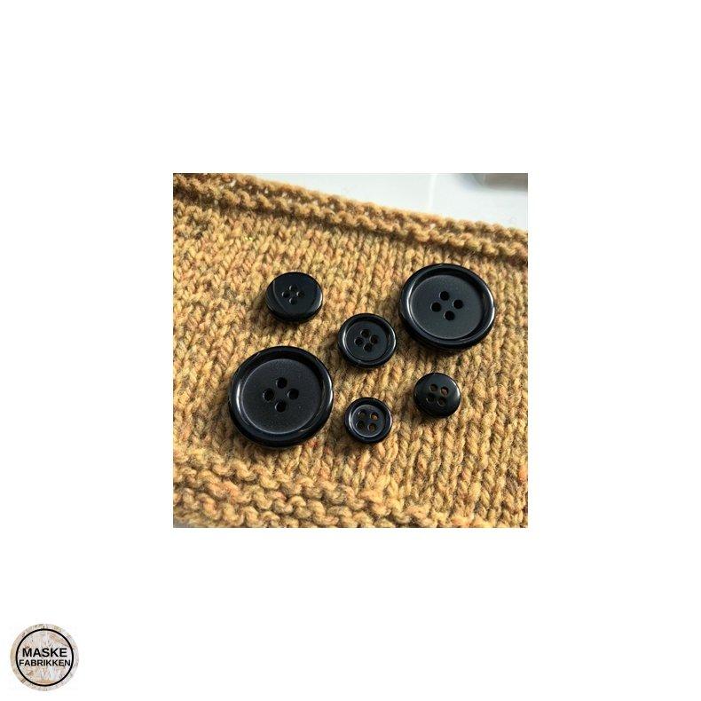 Sort knap, 4-huls, 20 mm